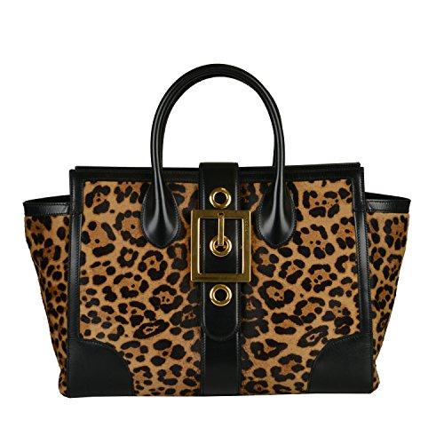 Gucci Women's Leopard Print Pony Hair Leather Handbag Shoulder Bag