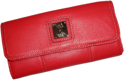 Women's Tignanello Wallet Flap Check Clutch Genuine Leather Red