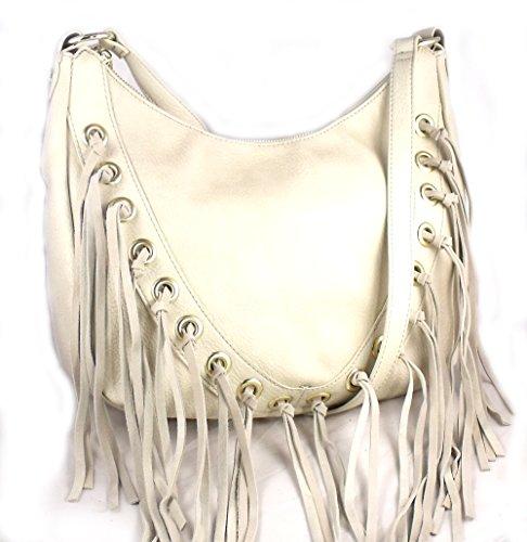 Steve Madden BCharmm Fringe Hobo Cross Body Bag Cream