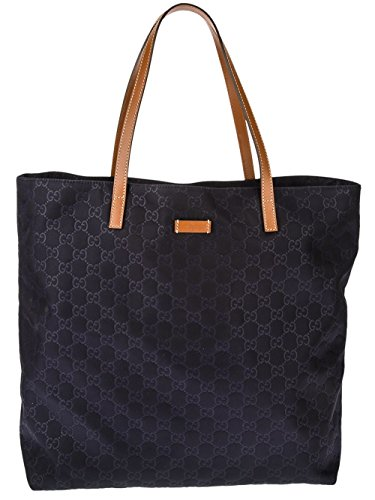 Gucci Navy Monogram Tote Tan Handles Handbag New