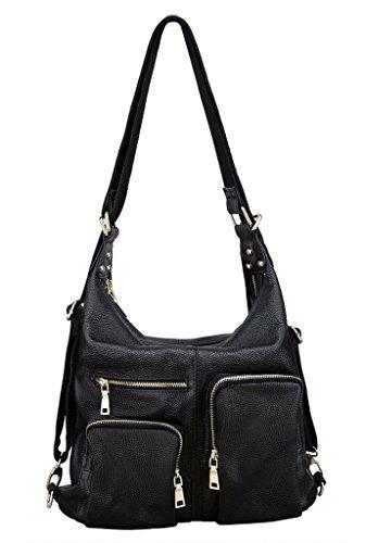 Yahoho Women's Top Grain Genuine Leather Shoulder Bag Soft Hobo Convertible Backpack