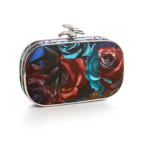 Floral Print Minaudiere Evening Bag