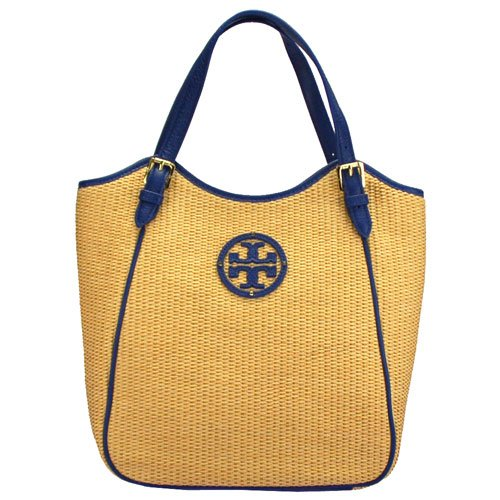 Tory Burch Small Straw Slouchy Tote Natural Navy
