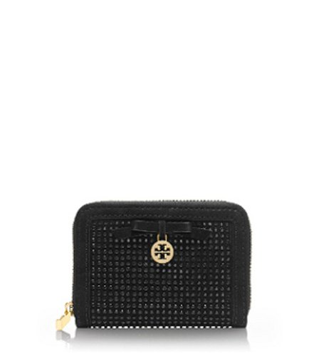Tory Burch All Over Crystal Zip Coin Case Mini Wallet Black