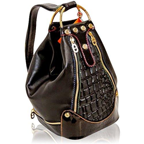 Marino Orlandi Italian Designer Black Croc Leather Oversized Sling Bucket Bag