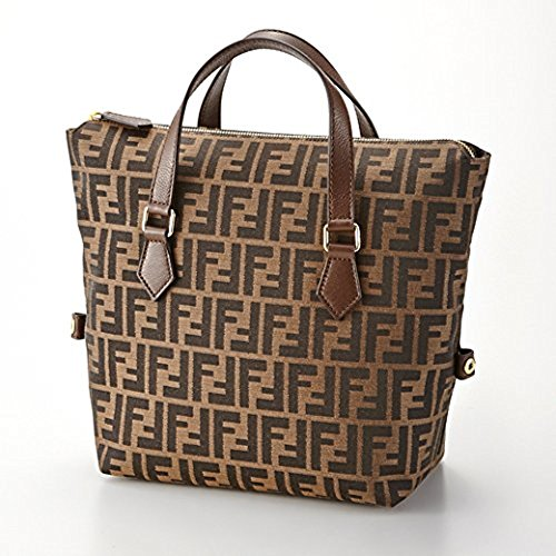Fendi Genuine Authentic Zucca Pattern 8bn249 Tobacco/chestnut Leather Canvas Satchel Boston Tote