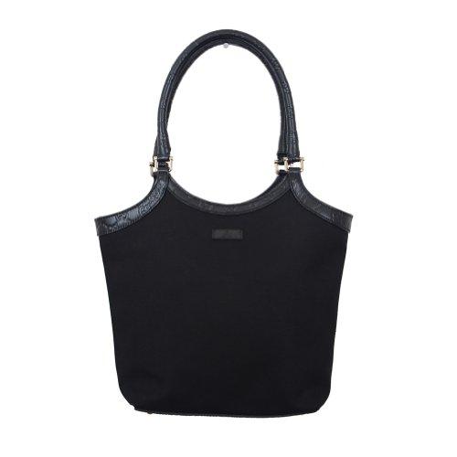Authentic Gucci Black Canvas Leather Trimmed Guccisima Hobo Shoulder Bag