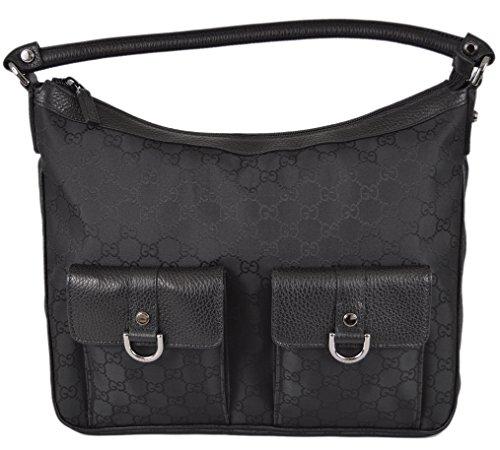 Gucci Women's 293581 Black Nylon GG Guccissima Pockets Abbey Handbag Purse