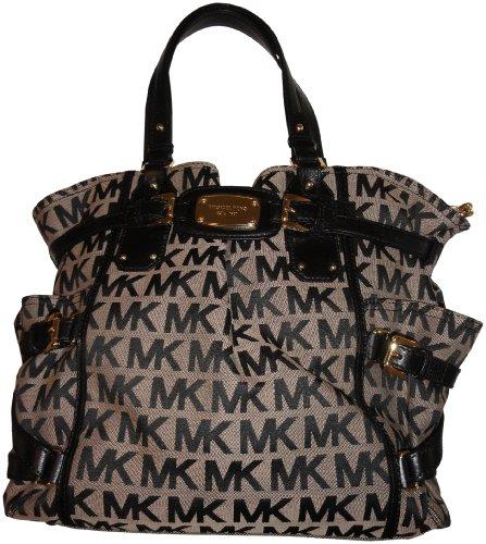 Michael Kors Purse Handbag Gansevoort Large North South Tote Beige/Black/Black