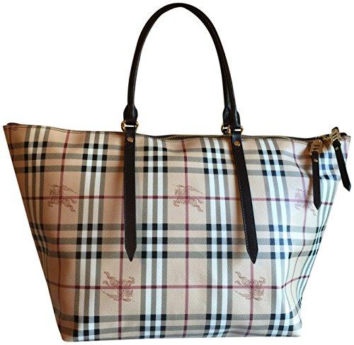 Burberry Haymarket Core Salisbury Tote Travel Bag Dark Brown Handle