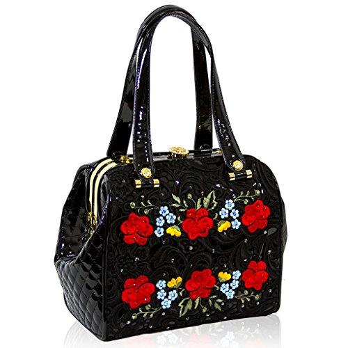 Valentino Orlandi Designer Black Embroidered Leather Jeweled Purse Bag