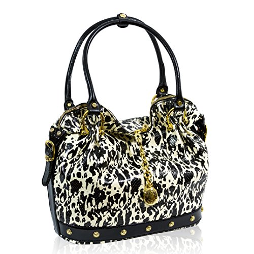 Marino Orlandi Italian Designer Black/White Python Leather Large Slouchy Purse Bag