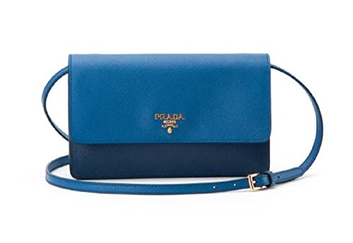 Prada Womens Crossbody Messanger Bag in Blue Saffiano Leather BT1019 NZV F0IFG