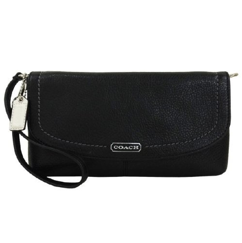Coach Parker Leather Flap Wristlet Bag 49177 Black