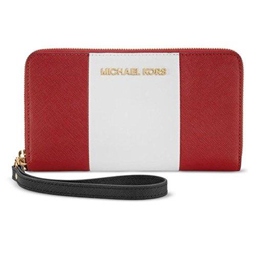 Michael Kors iPhone 6 Plus Large Zip Wristlet Clutch Wallet Red White Black Saffiano Leather