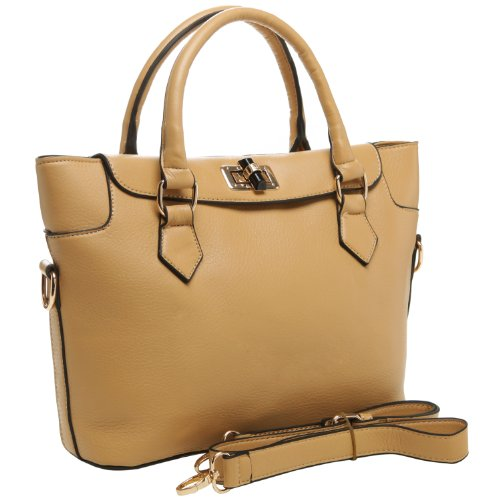 MG Collection PAOLA Apricot Office Tote Style Satchel Bag w/ shoulder Strap