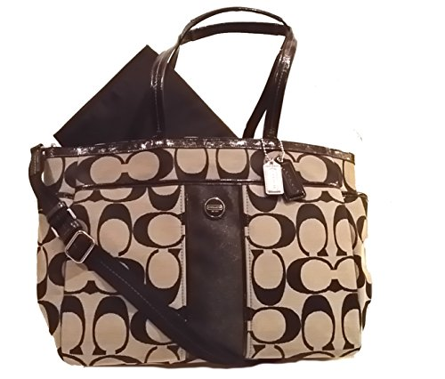 Coach Signature Stripe Multifunction Baby Diaper Travel Laptop Bag 21865 Black/white