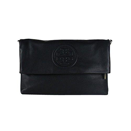 Tory Burch Bombe Foldover Messenger Cross-body Bag in Black Leather