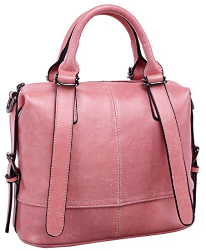 Heshe Women Luxury Waxy Genuine Leather Tote Top Handle Cross Body Shoulder Bag Handbag for 2015 Spring&summer