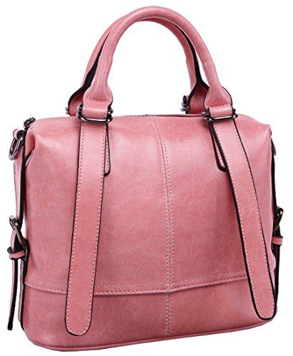 Heshe Women Luxury Waxy Genuine Leather Tote Top Handle Cross Body Shoulder Bag Handbag for 2015 Spring&summer