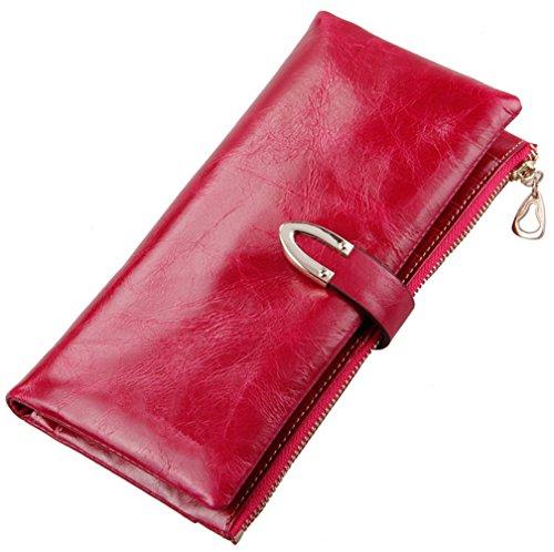 Heshe Luxury Women's Wax Paper Genuine Leather Long Clutch Wallet Purse Handbag Card Holder Case with Coin Zipper Pocket