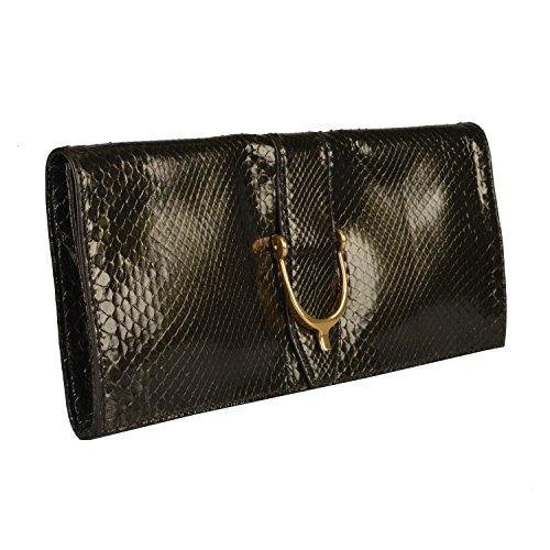 Gucci Women's Deep Olive Green Python Skin Clutch Handbag Bag