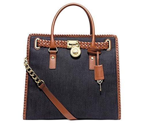 Michael Kors Whipped Hamilton North South Tote Denim/Luggage/Gold