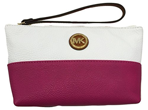 Michael Kors Fulton MD Pouch White and Fuschia Leather