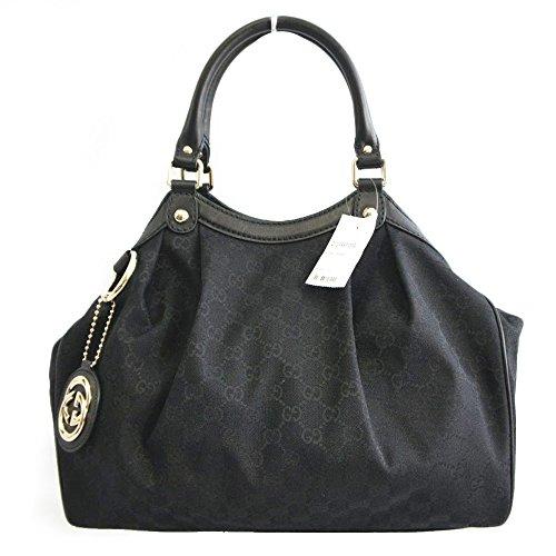 3db27092152 Gucci Black Leather and Canvas GG Logo Medium Sukey Handbag 211944