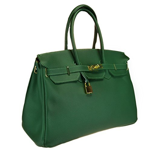 HS 5009 VR DAVINA Made in Italy Green Structured Top Handle Bag