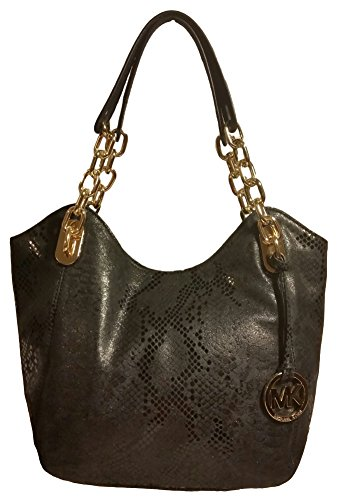 Michael Kors Lilly Medium Embossed Python Leather Tote in Black