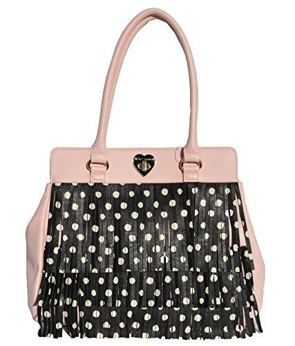 Betsey Johnson Fringe Tote Handbag, Black Multi