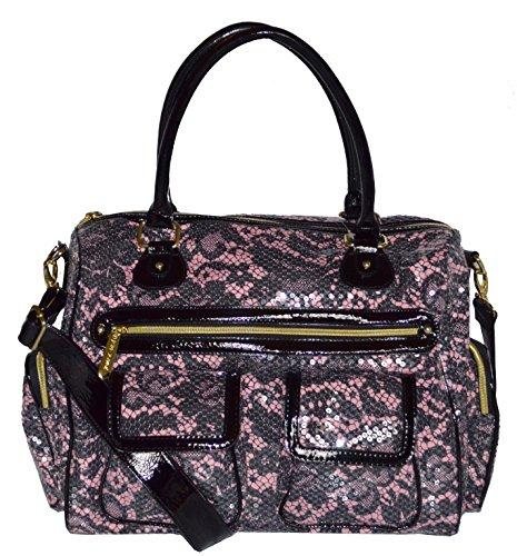 Betsey Johnson Sequins Femme Fatale Carge Tote Purse Bag Handbag Blush