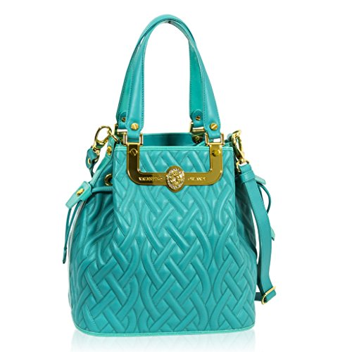 Valentino Orlandi Italian Designer Turquoise Blue Quilted Leather Purse Bucket Bag
