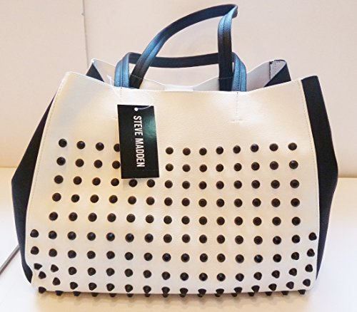Steve Madden B Cortage Studded Tote in White and Black
