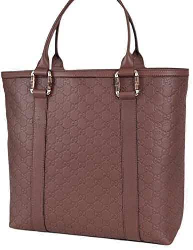 Gucci Women's Leather GG Guccissima Bamboo Libeccio Large Handbag