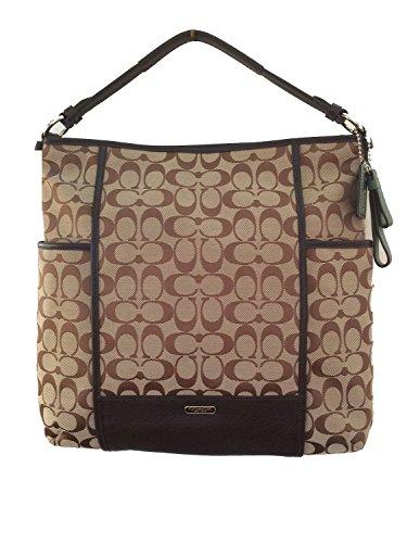 Coach Park Signature Hobo Shoulder Bag in Khaki & Mahogany