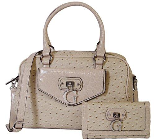 Guess Tamora Creme Satchel Handbag Bag & Wallet Set