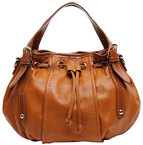 Heshe Genuine Leather Fashion Hot Sell Vintage Style Collection Top-handle Cross Body Shoulder Bag Hobo Satchel Drawstring Handbag for Woman