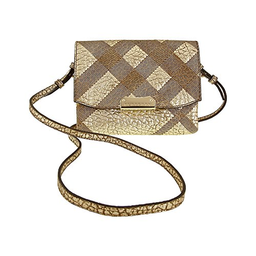 Burberry Langley Check-Embossed Leather Shoulder Bag – Metallic
