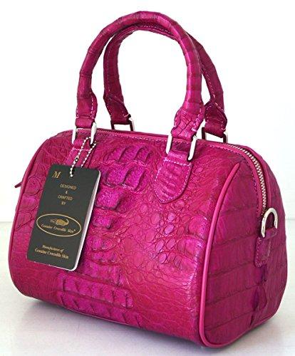 +ThaiPremiumHouse+100% GENUINE CROCODILE LEATHER HANDBAG CLUTCH BAG PURSE SHINY PINK NEW W/Strap