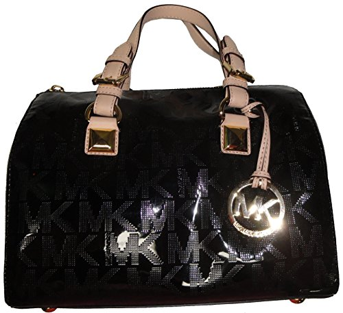 Michael Kors Grayson Medium Satchel Mirror Metallic in Black