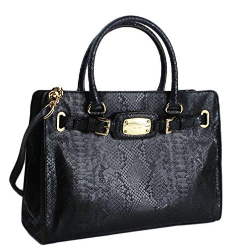 Michael Kors Hamilton Large EW Tote Textured Black Leather