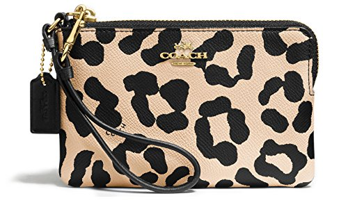 Coach 52898 Woman's Corner Zip Wristlet in Ocelot Print Crossgrain Leather, Light Tan