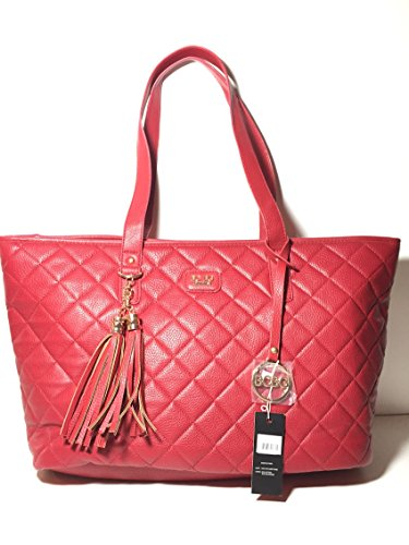 Bcbg Paris Quilted Red Xlarge Hand Bag with Tassel