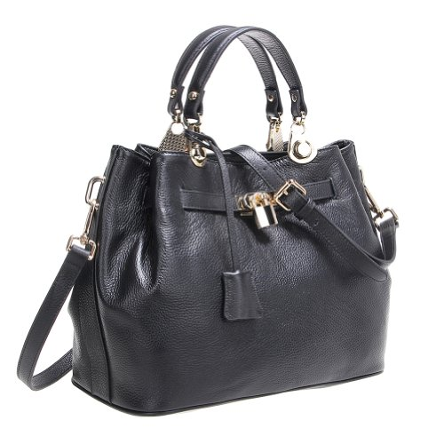 Fineplus Women's Fashion Genuine Leather Tote Bags Purses Wholesale Handbags Black