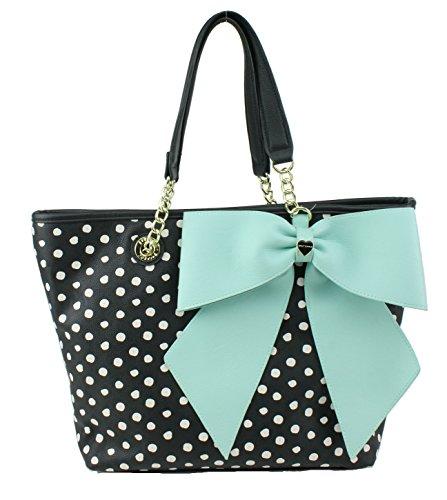 Betsey Johnson E/W Bow Large Tote Shoulder Bag, Polka Dot