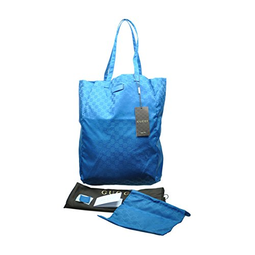 Gucci Mama's Bag 281487 Turquoise Blue Nylon Gg Logo Tote Bag