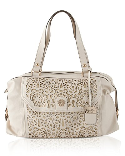 Jessica Simpson Womens True Romance Perforated Satchel, Ivory Gold, One Size