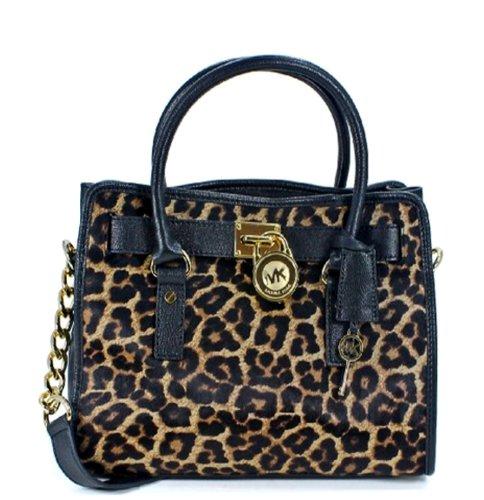 MICHAEL Michael Kors Hamilton Leather Cheetah Calf Hair Satchel Bag